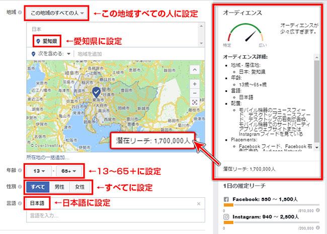 Facebook広告愛知県ターゲット時のオーディエンス2016年12月7日時点