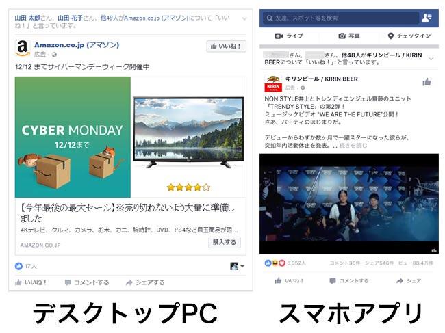 Facebook広告デスクトップPCとスマホ表示位置