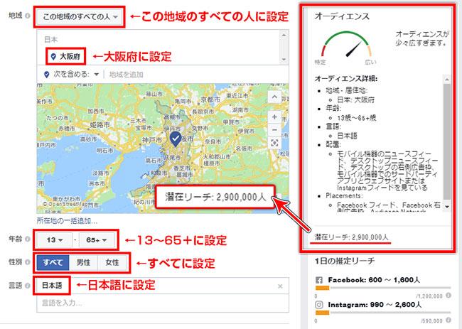 Facebook広告大阪府ターゲット時のオーディエンス2016年12月7日時点