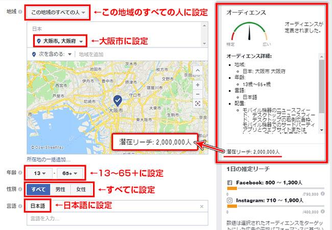 Facebook広告大阪市ターゲット時のオーディエンス2016年12月7日時点